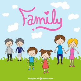 Family cute cartoon drawing