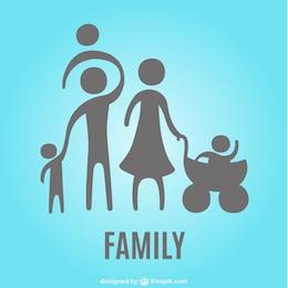 Family silhouettes icon