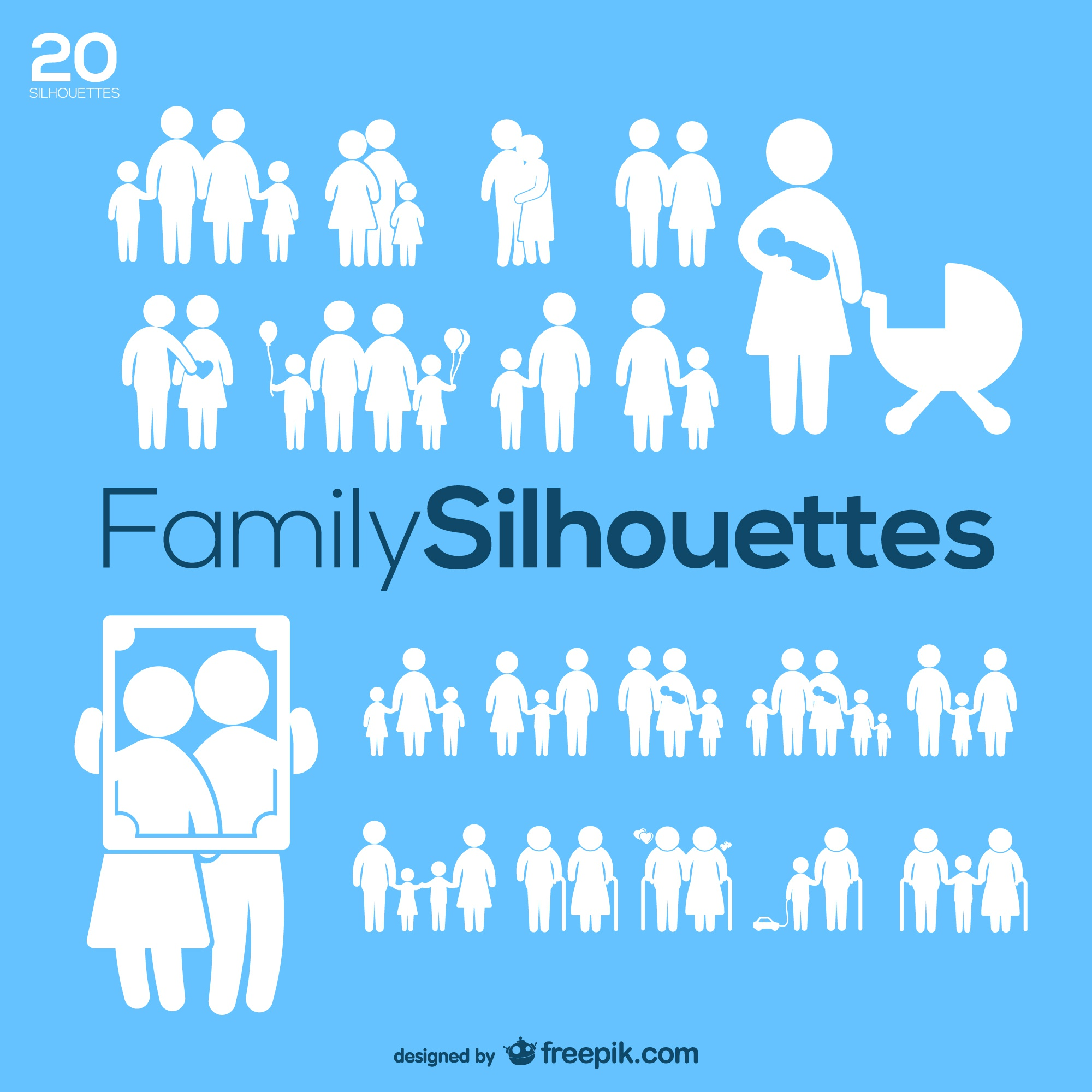 Family silhouettes vector pack