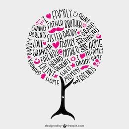 Family tree vector lettering