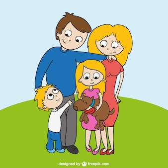 Family vector drawing cartoon style