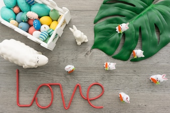 Fantastic easter background with word love