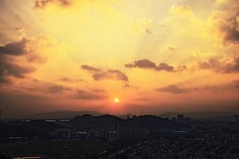 Fantastic sunrise in the city