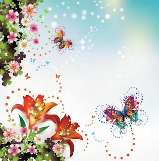 Fantasy butterfly floral abstract background