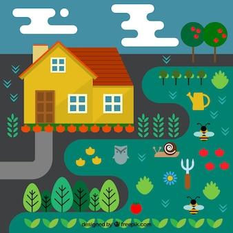Farm with vegetable garden