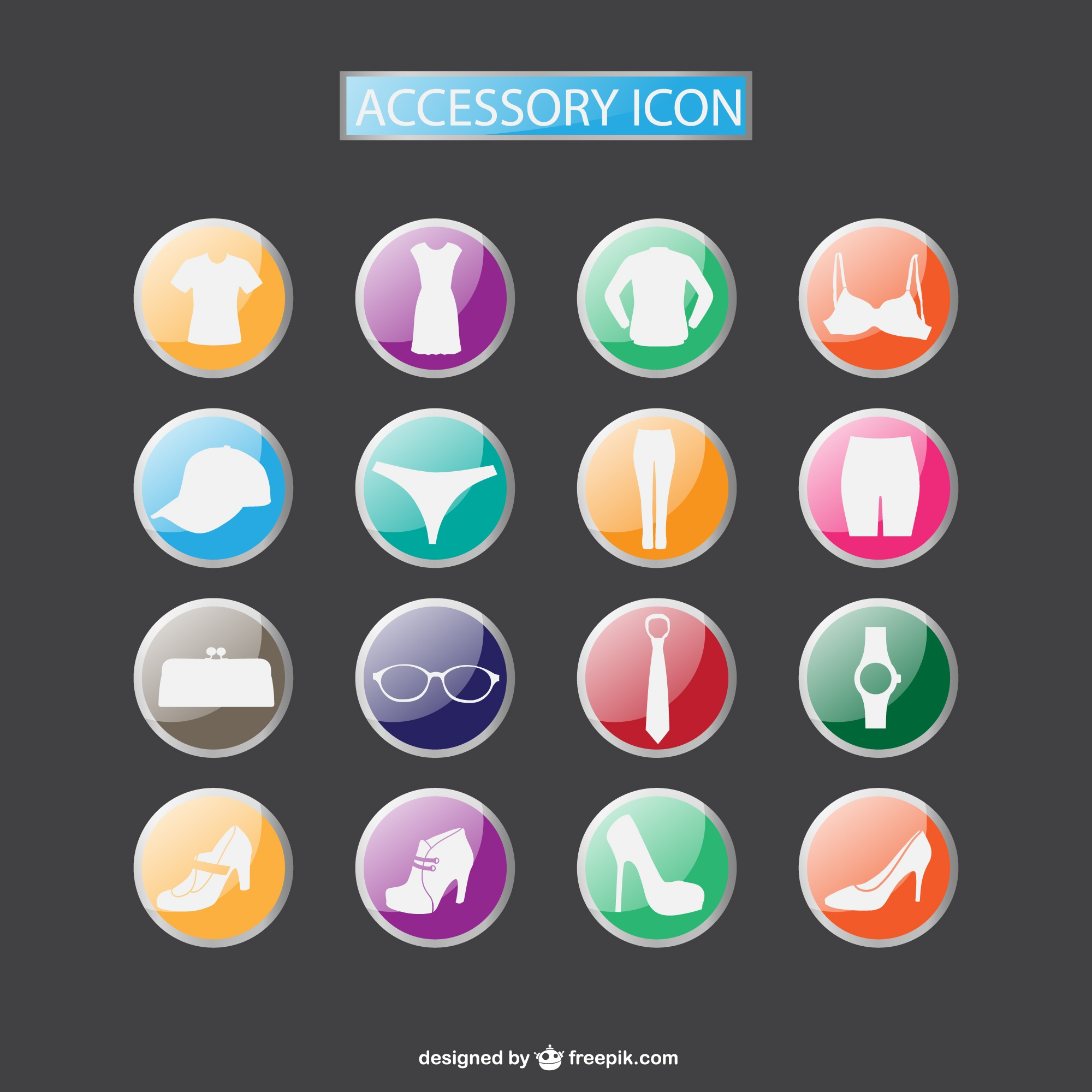 Fashion accesories icons collection free download