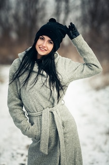 Fashion beautiful park cold caucasian