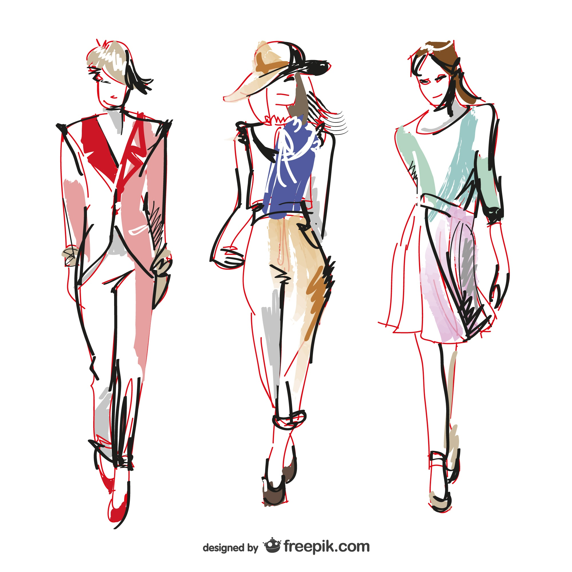Fashion vector drawing illustrations