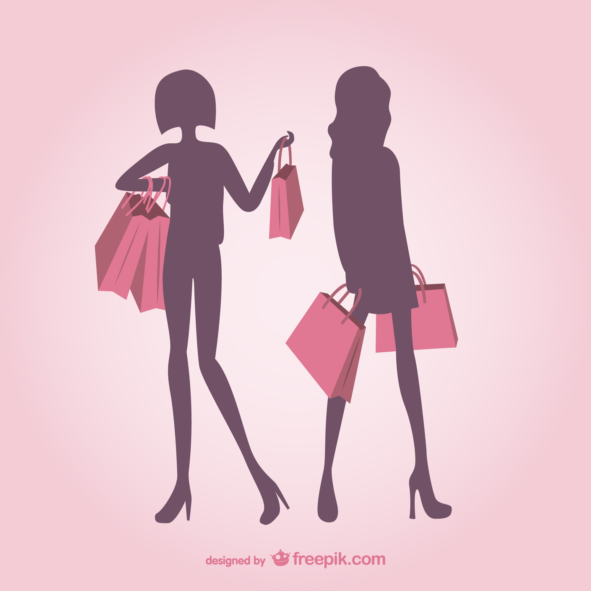 Fashionable girls silhouettes