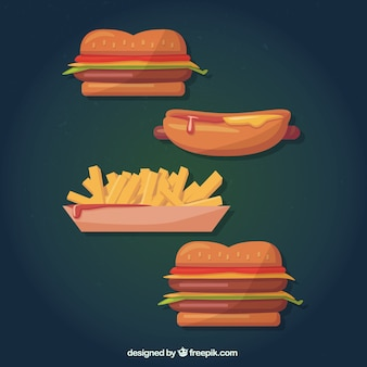 Fast food in cartoon style