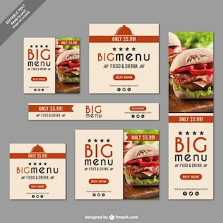 Fast food restaurant banner set