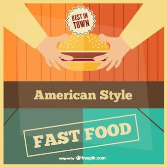 Fast food retro card template