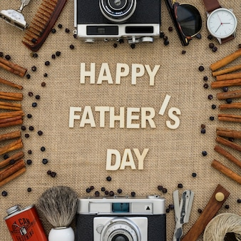 Father's day composition with cinnamon sticks and decorative items