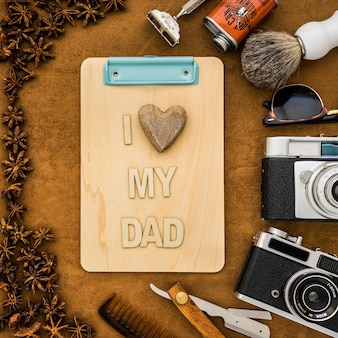 Father's day composition with decorative clipboard