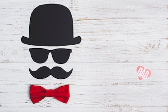 Father's day composition with red bow tie