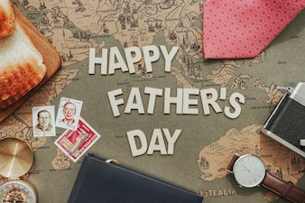 Father's day composition with stamps and other decorative items
