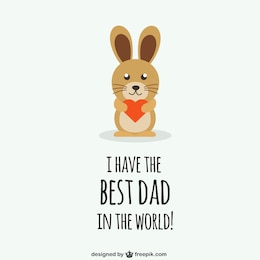 Fathers day congratulation with rabit