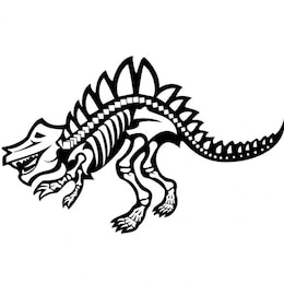 Fearsome dinosaur skeleton graphic