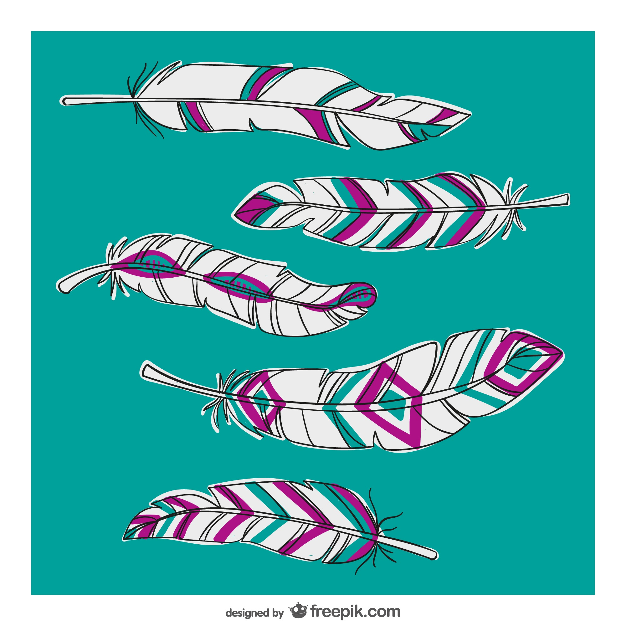Feathers with abstract patterns