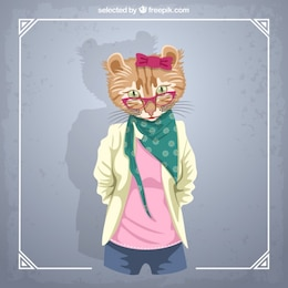 Female cat fashion model