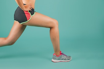 Female legs during the exercise