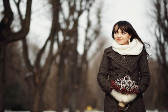 Female winter tenderness wedding young