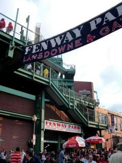 fenway banner hanging in a street