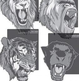 Ferocious beast animal vector set