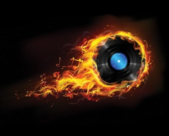 Fiery flames engulfing a vinyl record