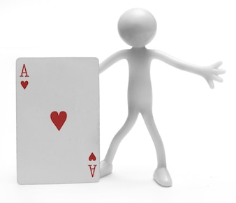 Figure holding a card
