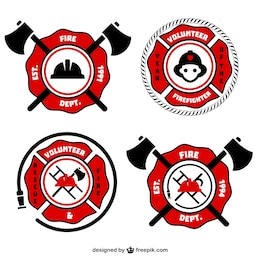 Fireman retro vector emblems