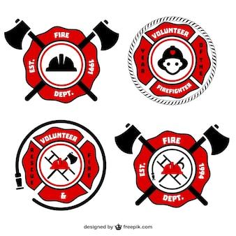 Fireman retro vector emblems