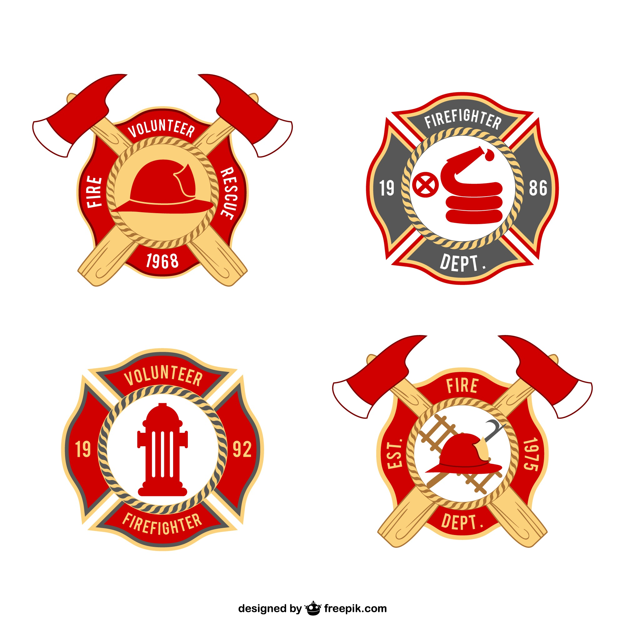 Firemen badges pack