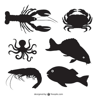 Fish and shellfish silhouettes