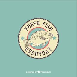 Fish retro vector logo