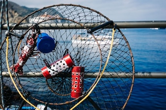 Fishing trap with lobster