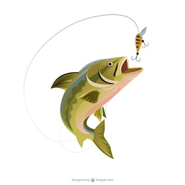 Fishing trout illustration