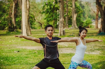 Fit couple training under the sun