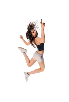 Fit girl with jumping high