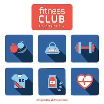 Fitness club vector icons