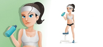 Fitness girl filled vector character
