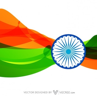 Flag of India in wave style