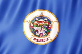 Flag of Minnesota, US state. 3D illustration of the Minnesota flag waving.