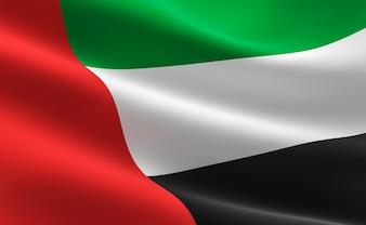 Flag of United Arab Emirates. Illustration of the UAE flag waving.