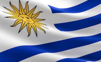 Flag of Uruguay. Illustration of the Uruguayan flag waving.