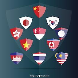 Flag shields free set
