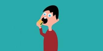 Flat cartoon man with sandwich