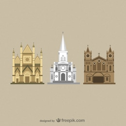 Flat Cathedrals vectors