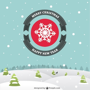 Flat Christmas card with snowy landscape