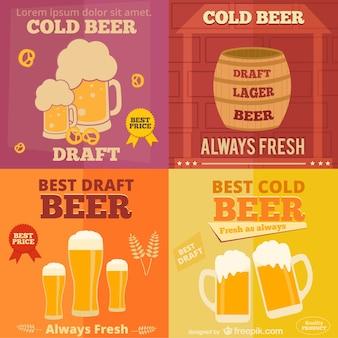 Flat design of beer ads